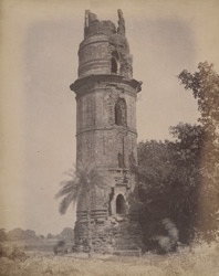 General view of the Minar of Firoz Shah [Firoz Minar], Gaur.